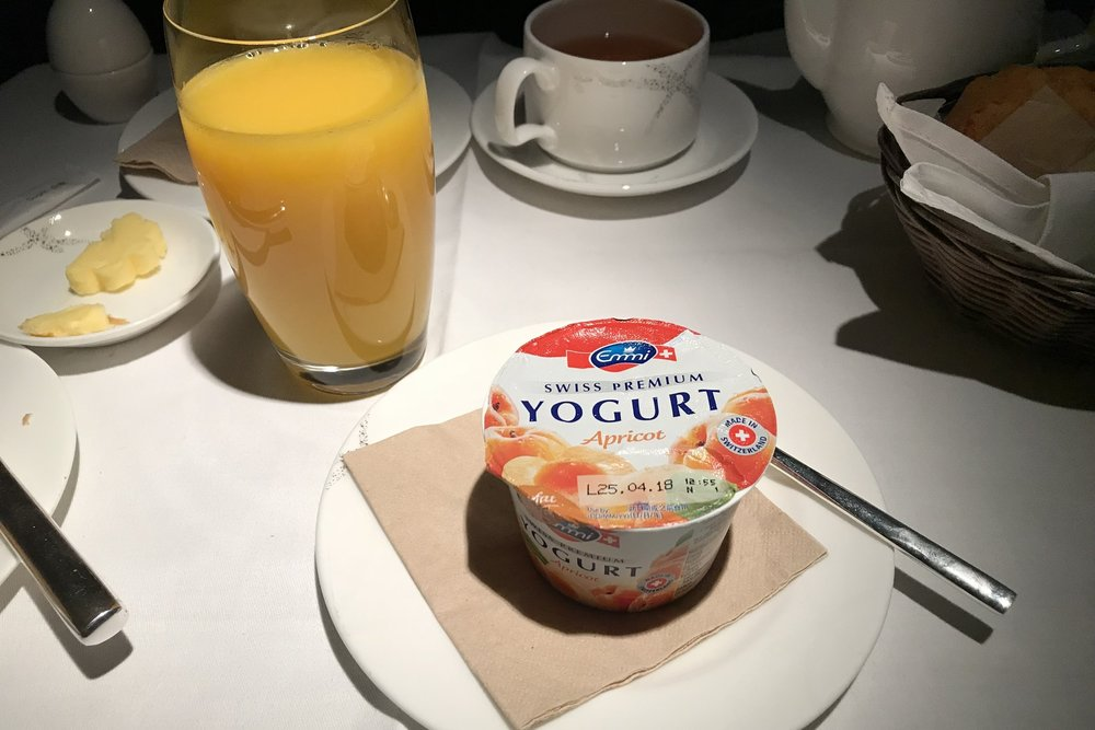 Cathay Pacific First Class – Yogurt