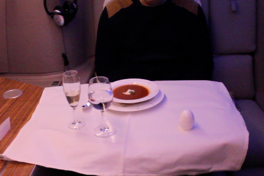 Cathay Pacific First Class – Tomato, orange, and basil soup