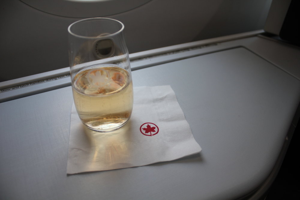 Air Canada business class – Welcome champagne