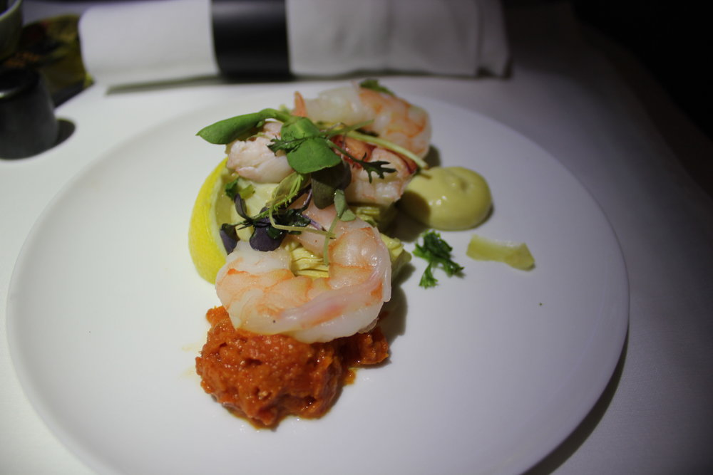 Air Canada business class – Lobster and shrimp appetizer