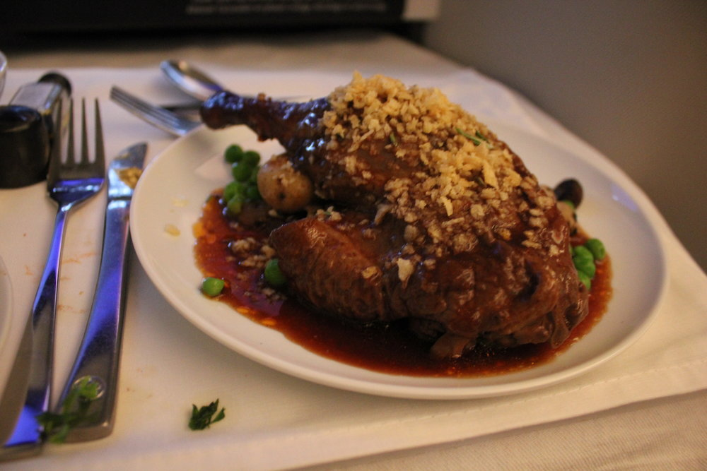 Air Canada business class – Red wine braised duck leg
