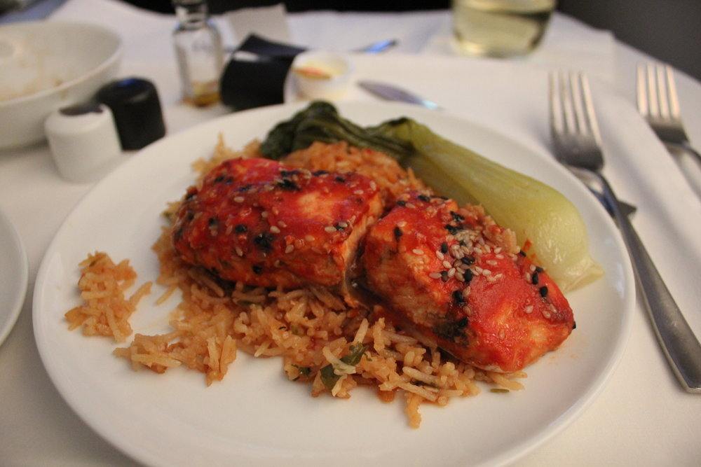 Air Canada business class – Barbecue salmon with basmati rice
