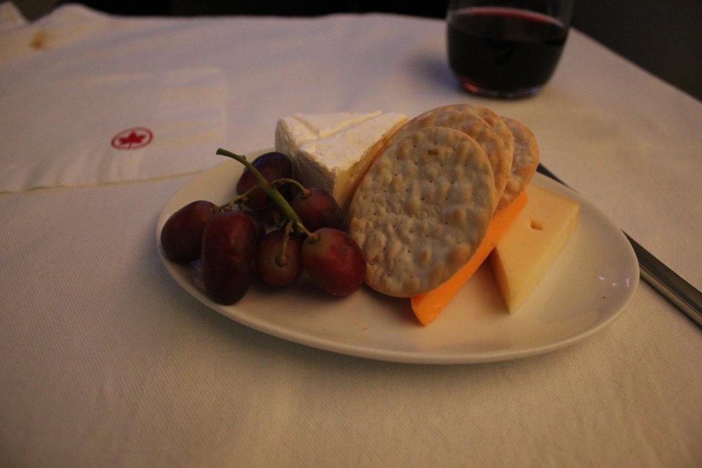 Air Canada business class – Cheese plate