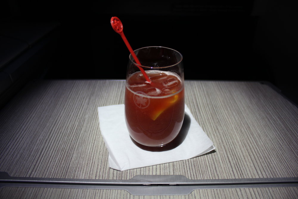 Air Canada business class – Extra spicy Clamato