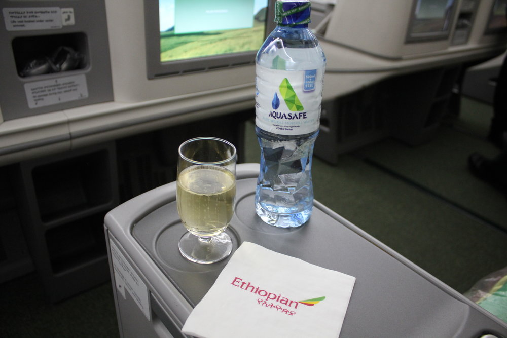 Ethiopian Airlines business class – Welcome drinks