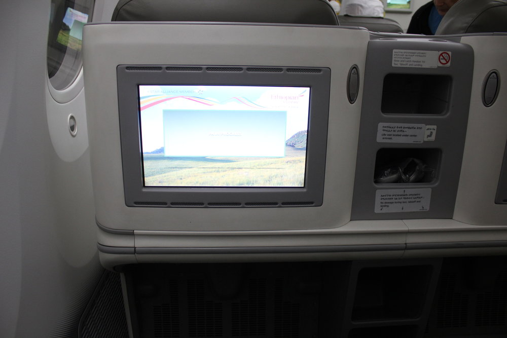 Ethiopian Airlines business class – Entertainment screen