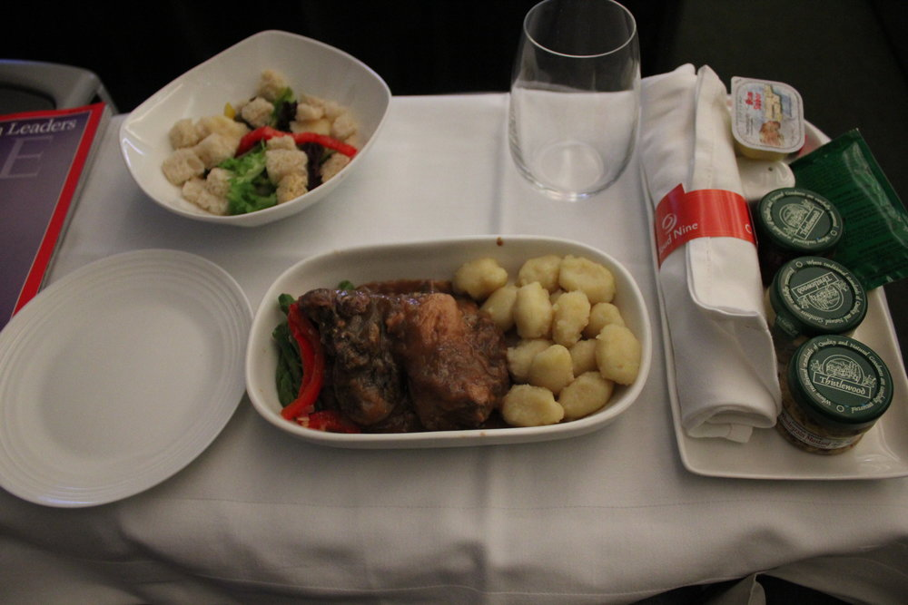 Ethiopian Airlines business class – Pork and gnocchi