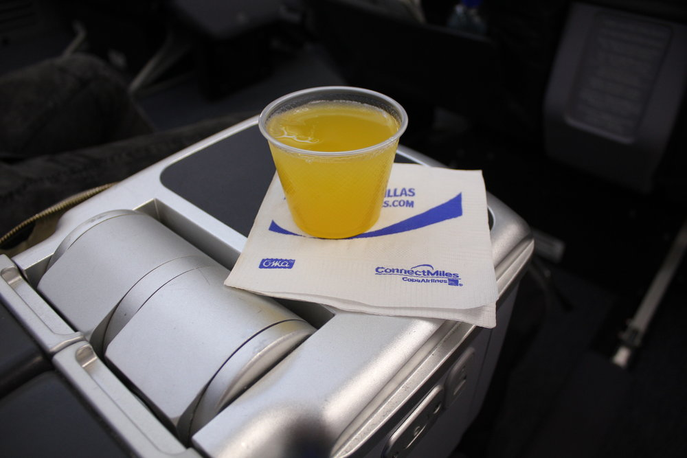 Copa Airlines business class – Welcome drink