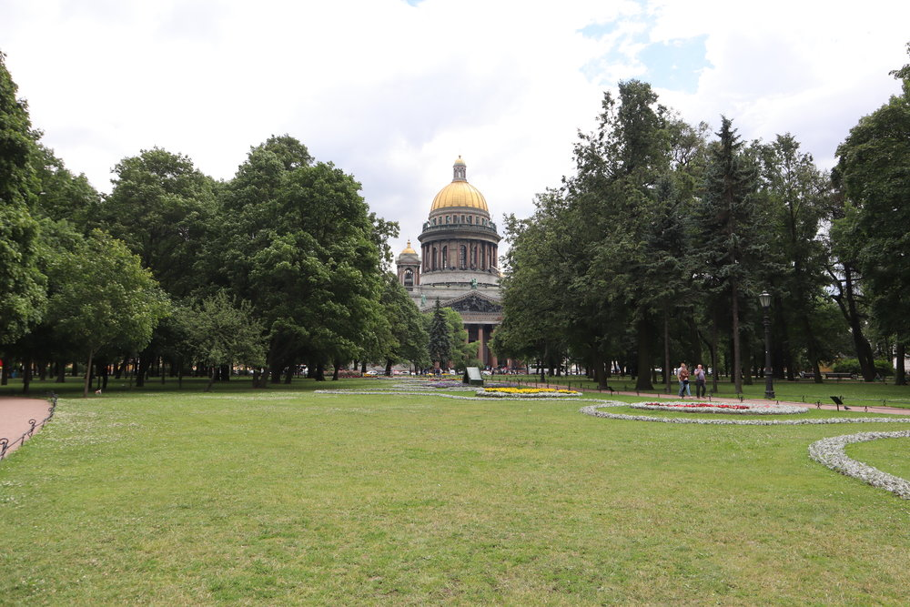 St. Isaac's Cathedral viewed from the Alexandrovskiy Garden