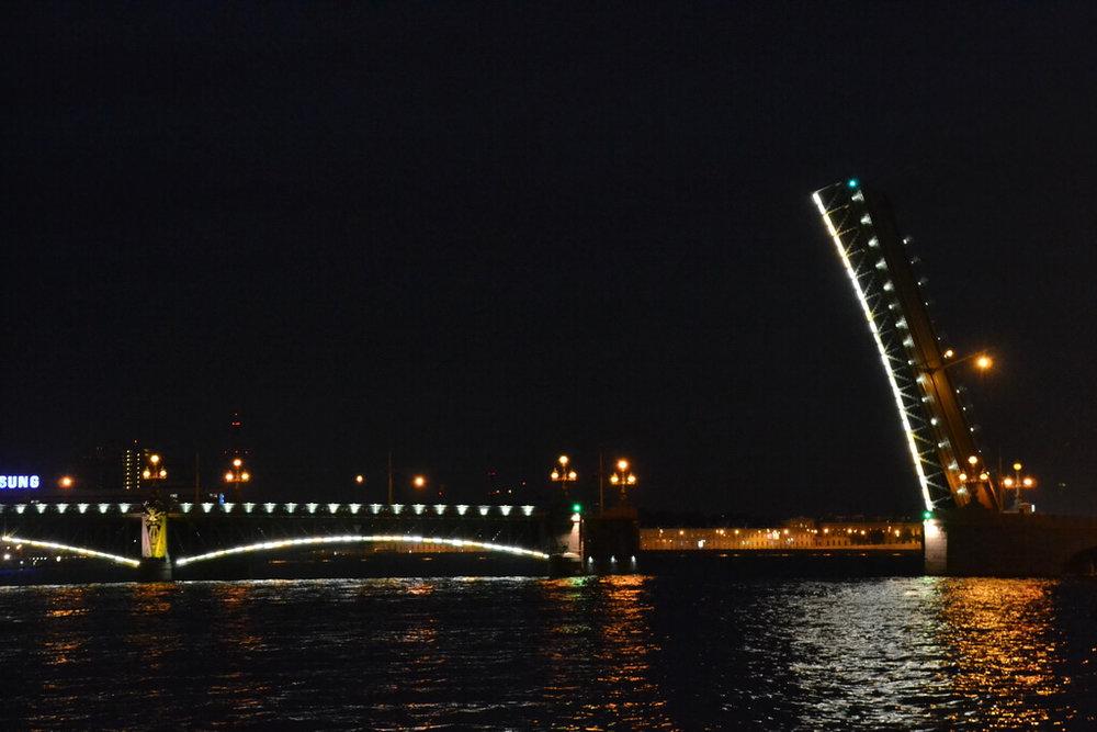 Trinity Bridge drawn at night