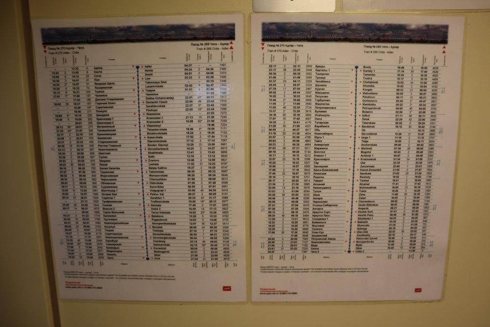 Trans-Siberian Railway Third Class – Train schedule