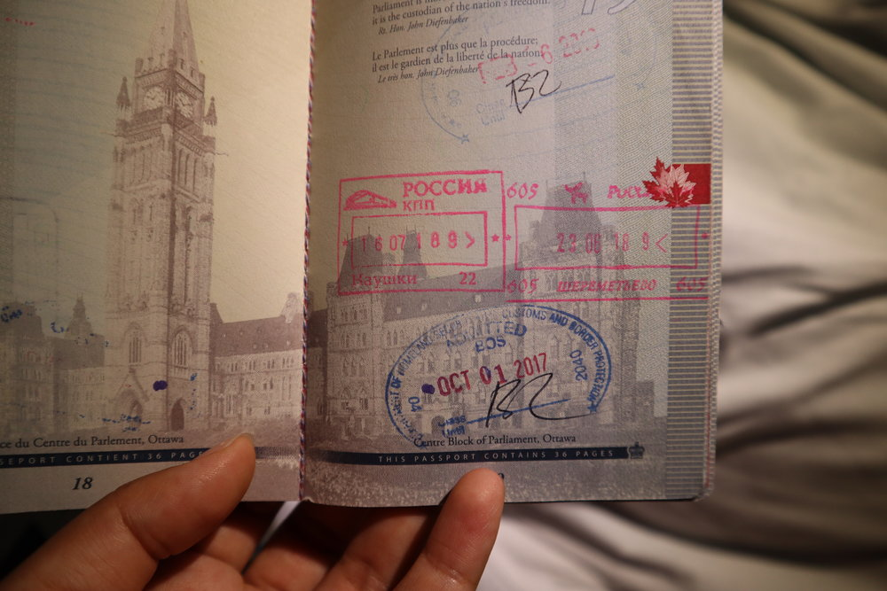 Trans-Mongolian Railway (RZD) Second Class – Russian exit stamp