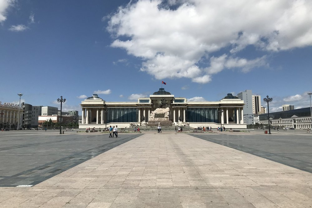 Sükhbaatar Square and the Genghis Khan monument