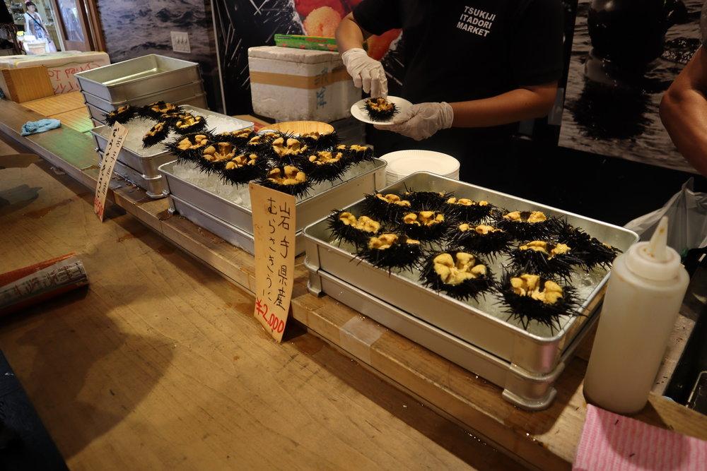 Fresh sea urchin at the Tsukiji Outer Market
