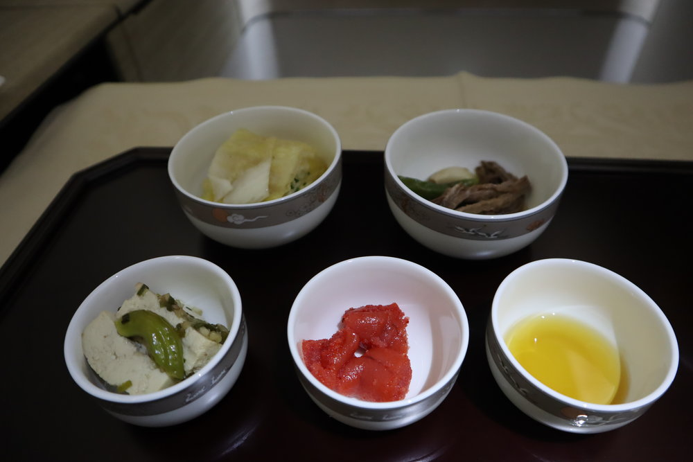 Asiana Airlines First Class – Ginseng porridge side dishes