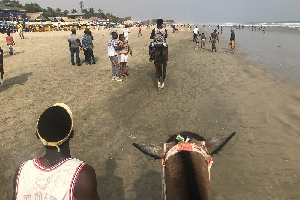 Horseback riding on Labadi Beach