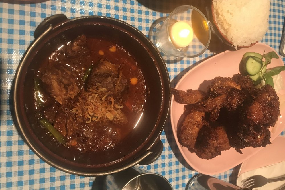 Beef stew and chicken wings at Pok Pok
