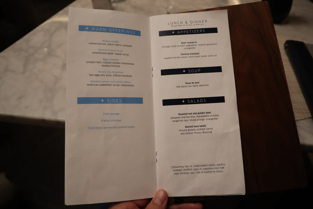 United Polaris Lounge Chicago – Dining Room menu
