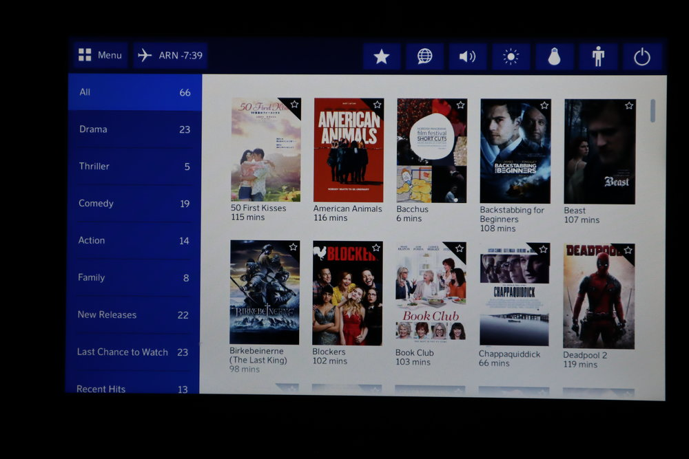 SAS business class – Movie selection
