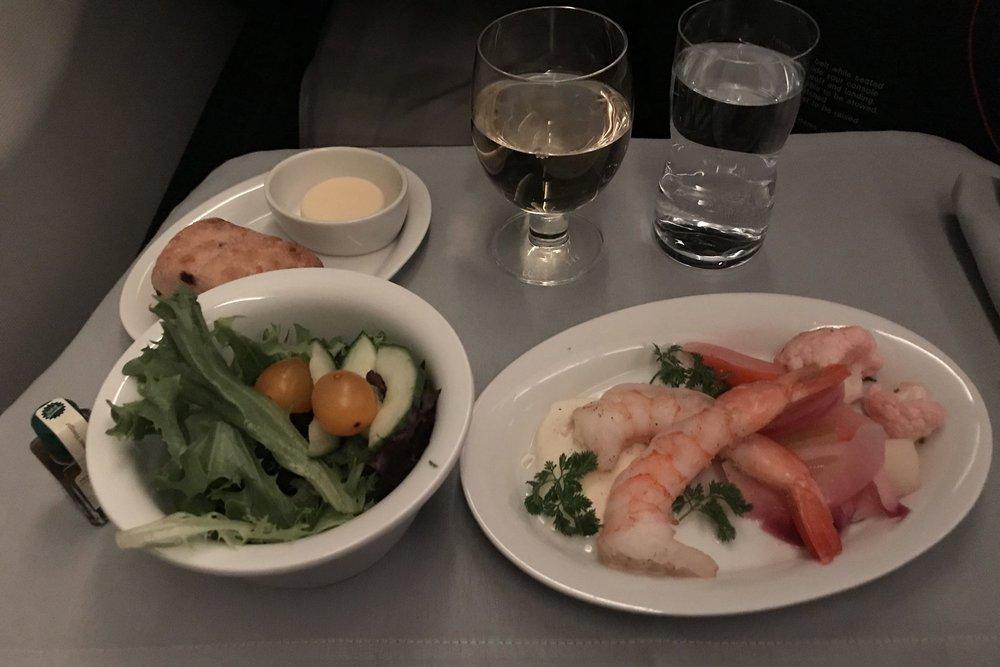 SAS business class – Shrimps with black pepper crème fraîche and mixed salad