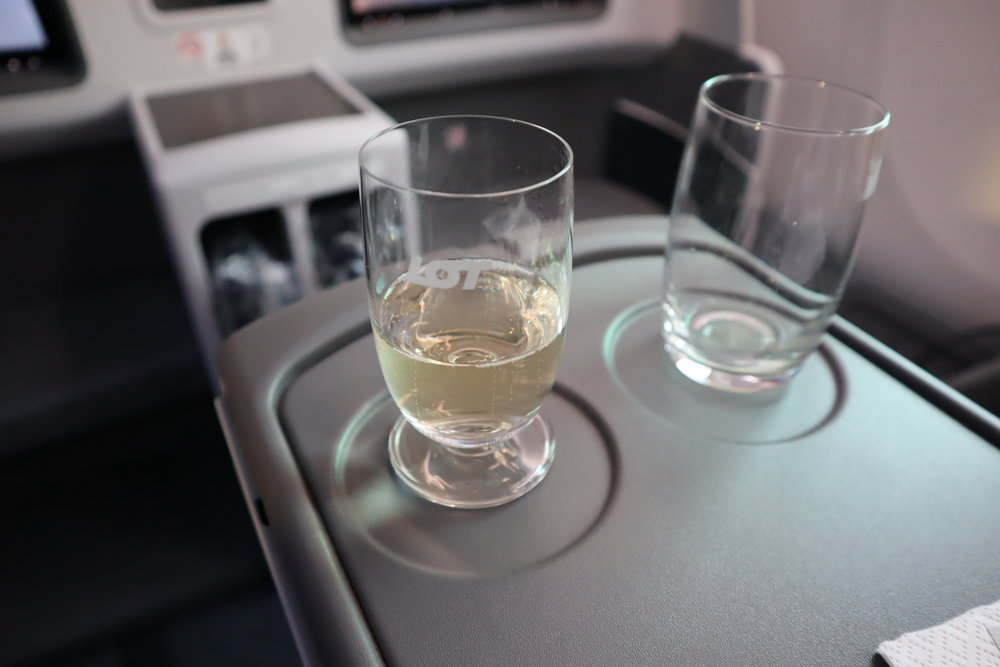 LOT Polish Airlines business class – Welcome champagne