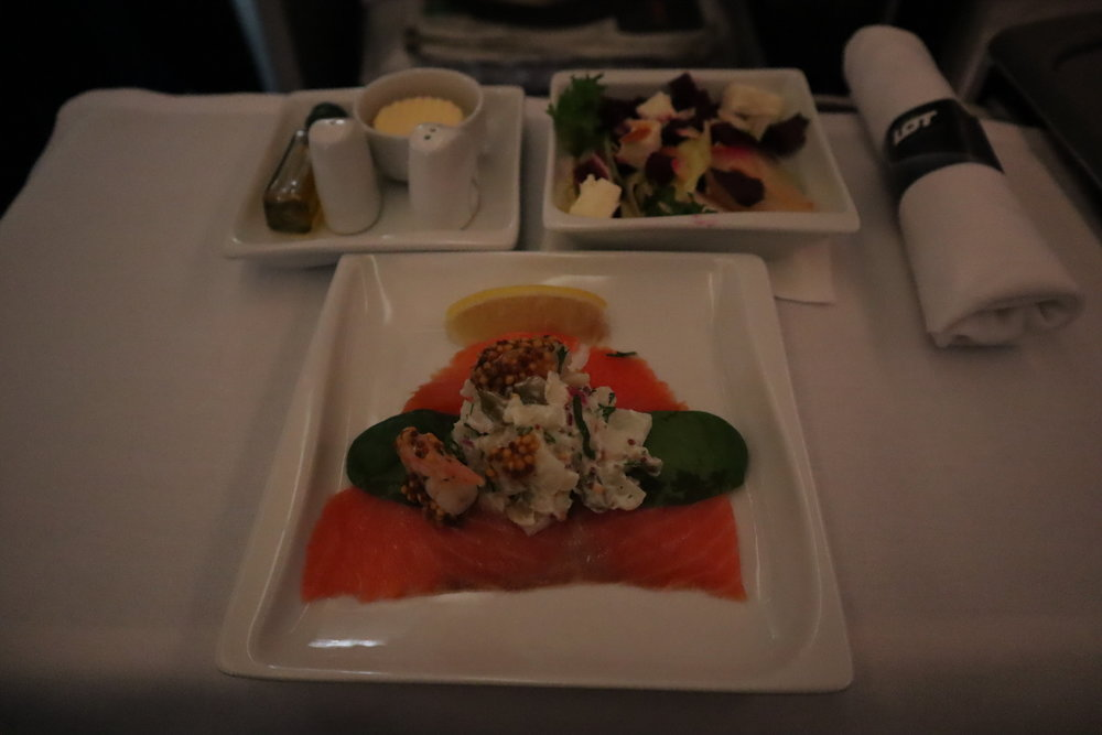LOT Polish Airlines business class – Seafood appetizer