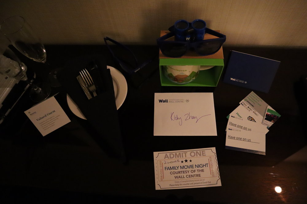 Sheraton Vancouver Wall Centre – Complimentary goodies