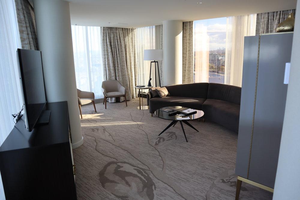 JW Marriott Parq Vancouver – One-bedroom suite living room