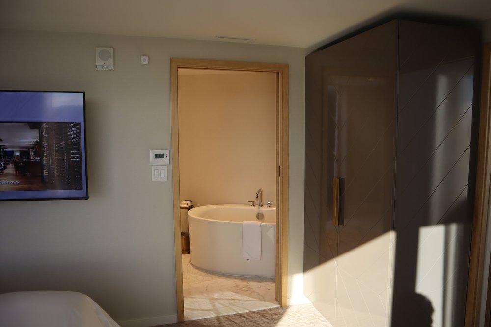 JW Marriott Parq Vancouver – Armoire and door to bathroom