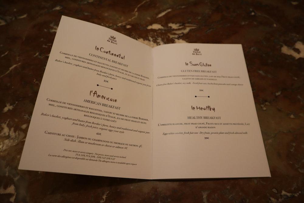 Hôtel de Berri Paris – Breakfast menu