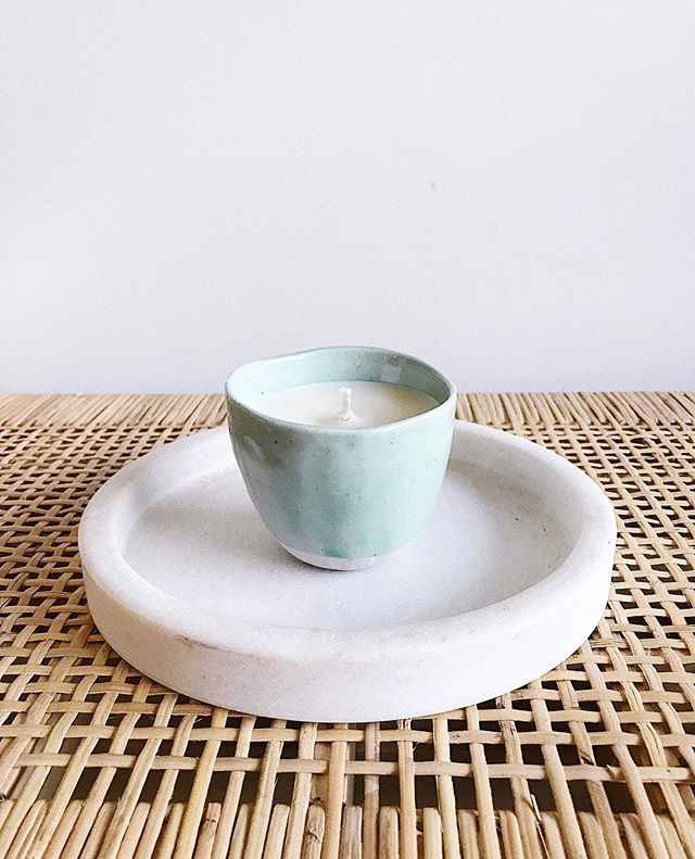 Our handmade candle in Mint/Grey in our Japanese Ceramic range is now here ✨ Will be available next week at @localmarketco