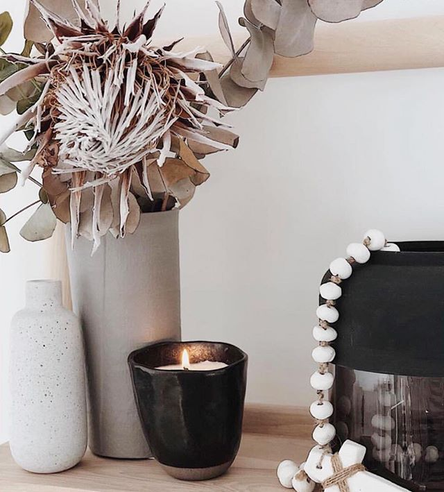 Our Japanese Ceramic Candle in charcoal black burning beautifully  in the divine home of @scarlettandcointeriorstyling ✨ Excited to have these next week at our market @localmarketco (in small and large sizes) and only available through DMs at the moment as we have limited availability. Image and styling by Scarlett and Co. Interior Styling