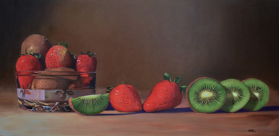 Strawberries and Kiwi  24 x 48  oil