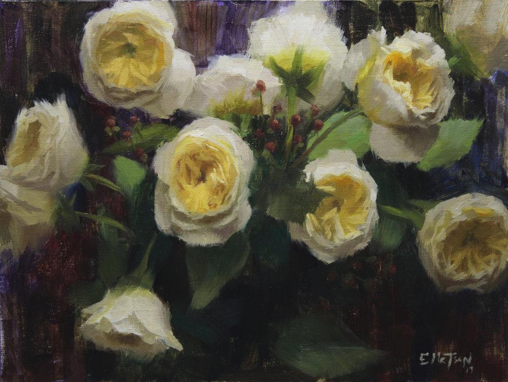Garden Roses 12 x 16 oil
