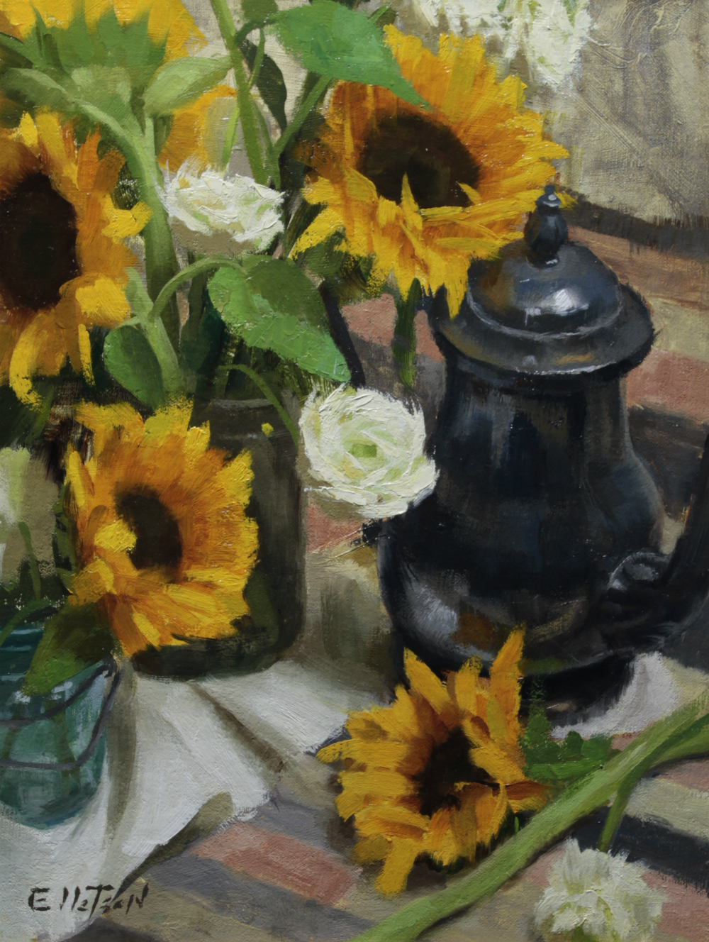 Sunflower and Ranunculus  16 x 12  oil