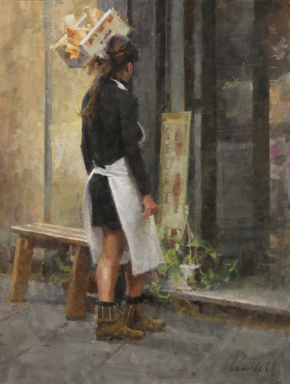 "WAITRESS OUTSIDE A GELATERIA  Oil on Canvas 24"" x 18"""