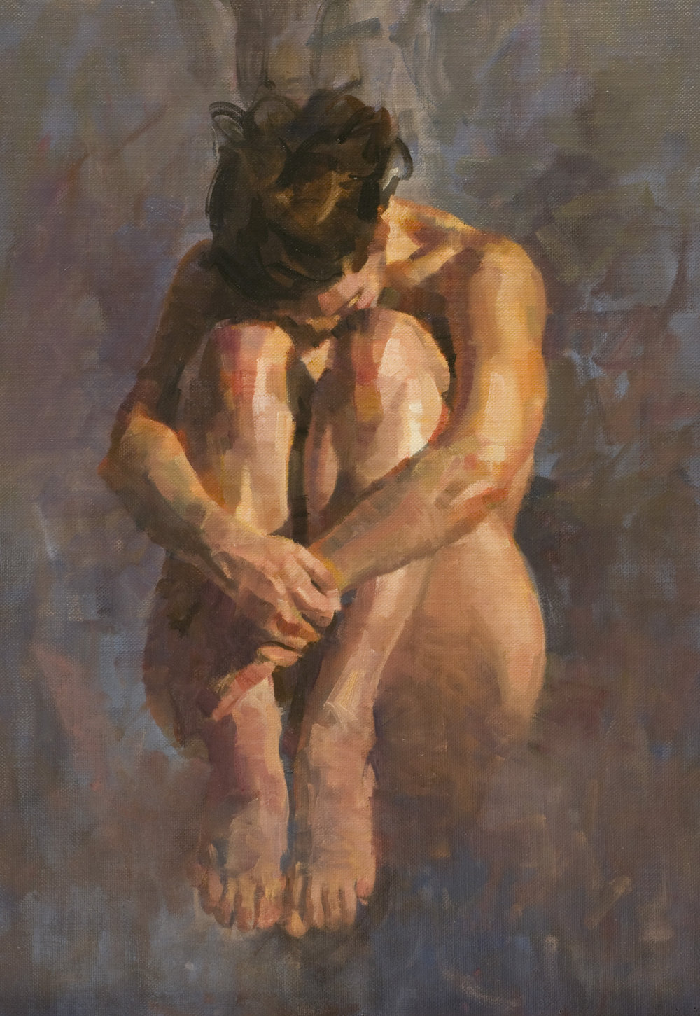 V. in Tuck Position   oil on linen 22 x 15