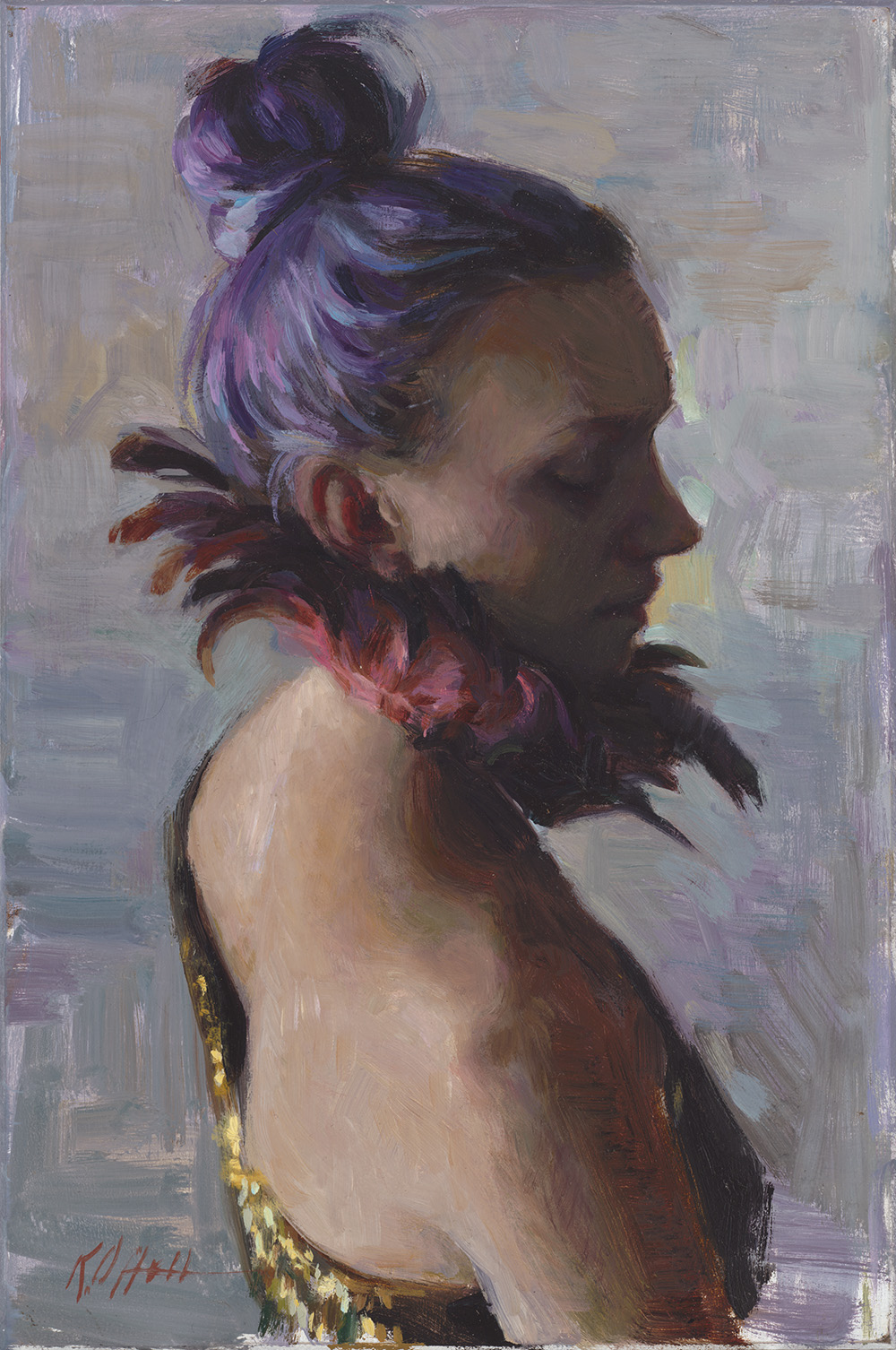 "Feathers, 9""x6"", oil on board"