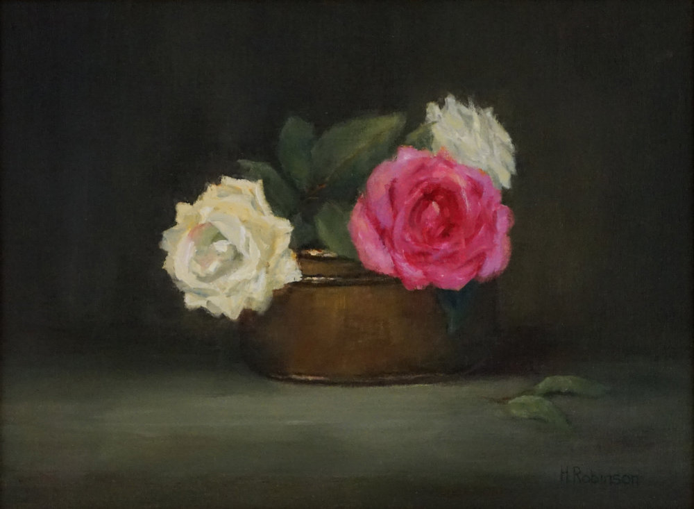 """Three Roses""  9 x 12  oil"