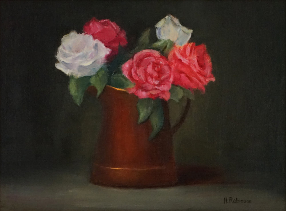"""Roses in Copper Pot"" oil 9 x 12"