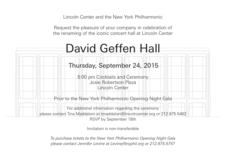 Logistics: Geffen Hall Inauguration