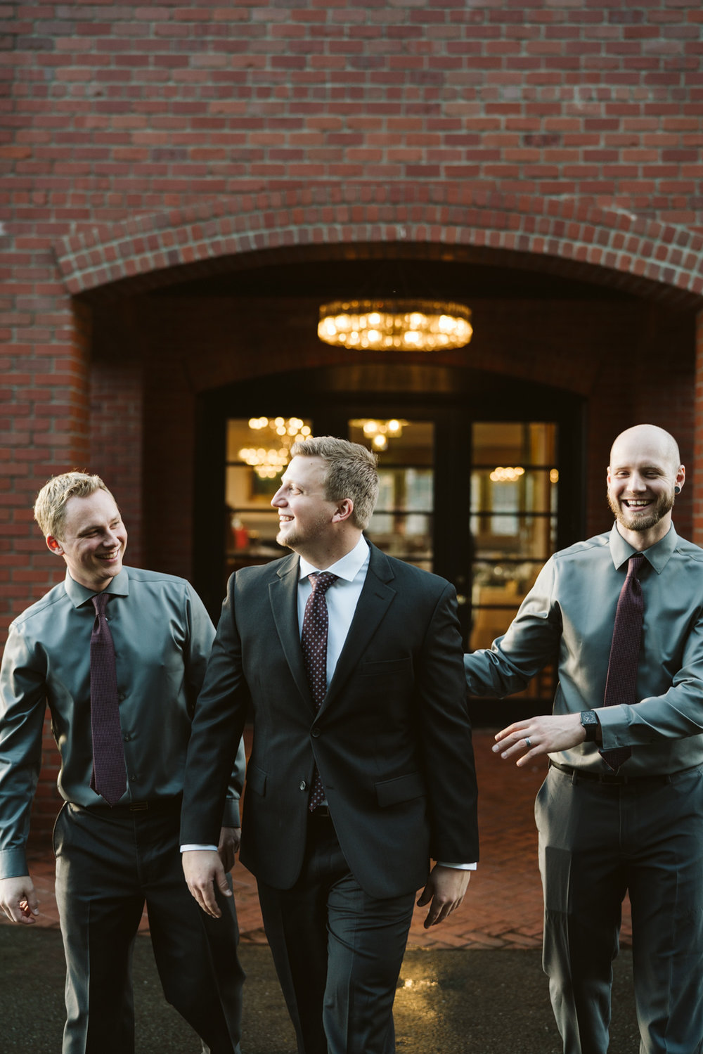 Intimate Winter Wedding | Groomsmen Photos | Seattle wedding photographer