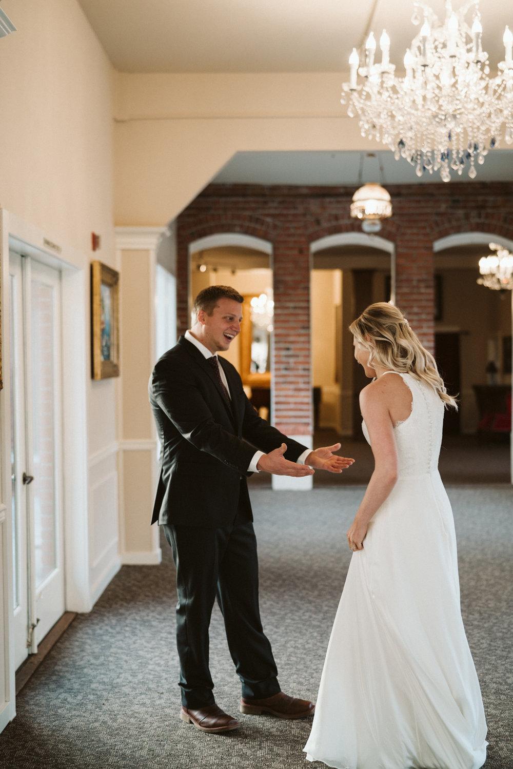 Intimate Winter Wedding | wedding day first look ideas | Seattle wedding photographer