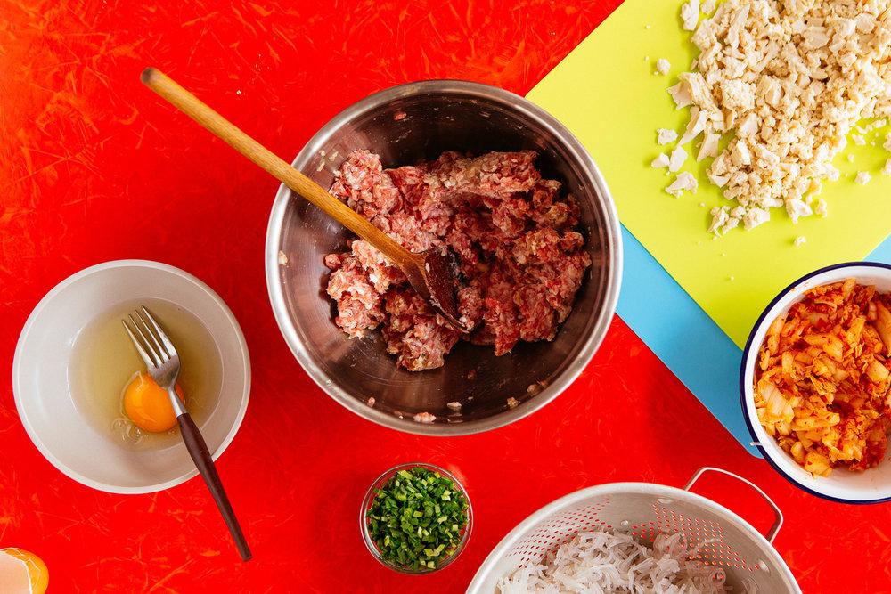 Budget-friendly, rent-week pork and kimchee Korean dumplings