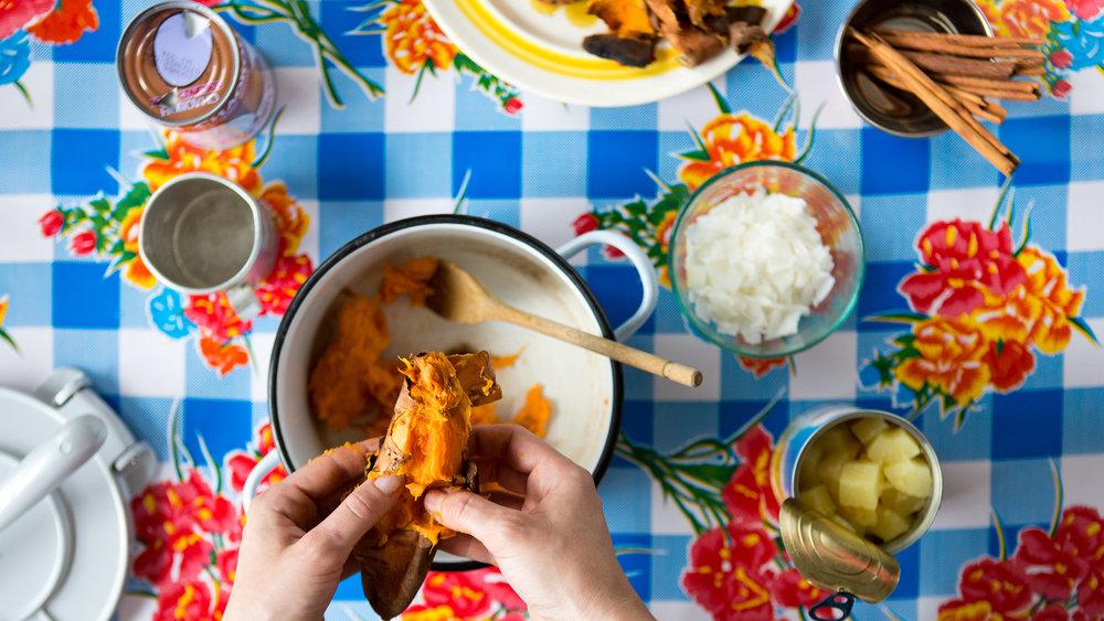 Sweet Potato Empanadas with Pineapple + Coconut