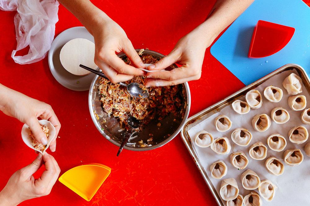 Budget-friendly pork and kimchi dumplings