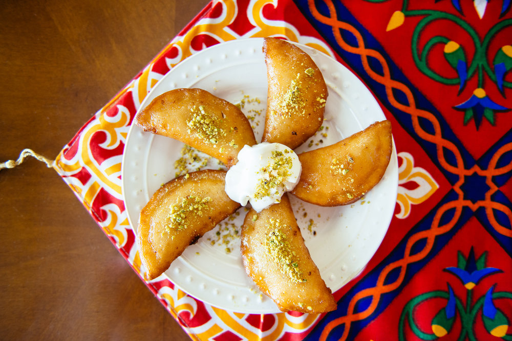 Sweetened cheese Qatayef for Ramadan
