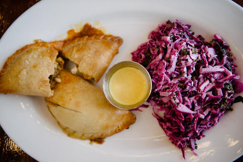 Empanada plate from Luna Rotisserie and Empanadas in Durham