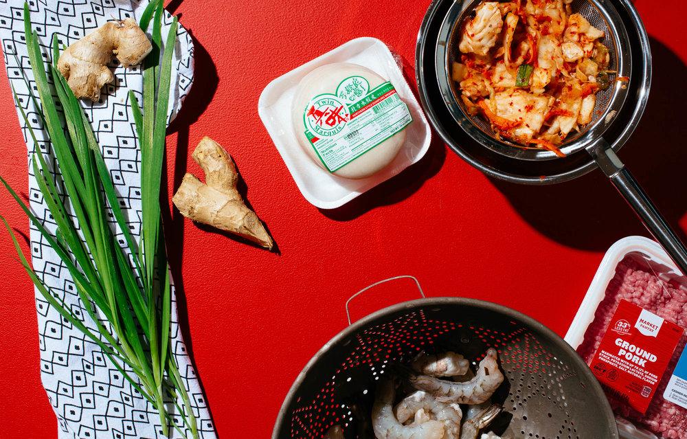Pork, shrimp and kimchi dumpling mise-en-place.