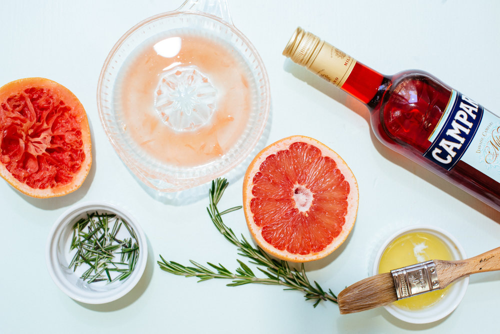 Ruby red grapefruit, Campari and rosemary curd mise-en-place for hand pies.